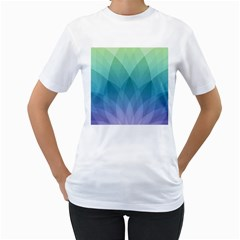 Lotus Events Green Blue Purple Women s T Shirt (white) (two Sided)