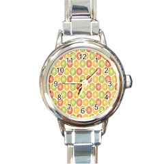 Lime Orange Fruit Slice Color Round Italian Charm Watch