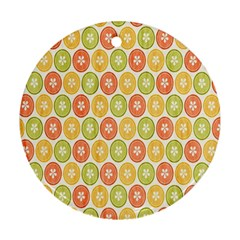 Lime Orange Fruit Slice Color Round Ornament (two Sides) by Alisyart