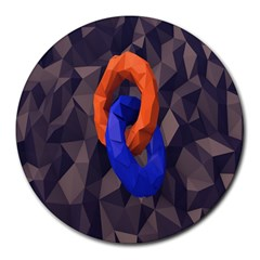 Low Poly Figures Circles Surface Orange Blue Grey Triangle Round Mousepads by Alisyart