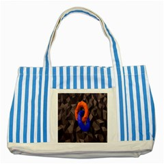 Low Poly Figures Circles Surface Orange Blue Grey Triangle Striped Blue Tote Bag by Alisyart