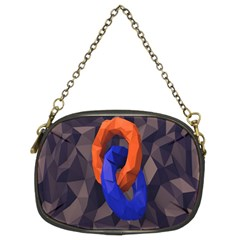 Low Poly Figures Circles Surface Orange Blue Grey Triangle Chain Purses (two Sides)  by Alisyart