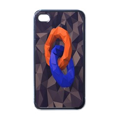 Low Poly Figures Circles Surface Orange Blue Grey Triangle Apple Iphone 4 Case (black)