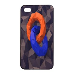 Low Poly Figures Circles Surface Orange Blue Grey Triangle Apple Iphone 4/4s Seamless Case (black)