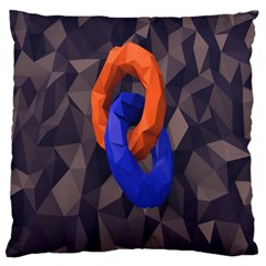 Low Poly Figures Circles Surface Orange Blue Grey Triangle Large Cushion Case (two Sides)
