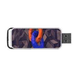 Low Poly Figures Circles Surface Orange Blue Grey Triangle Portable Usb Flash (two Sides)