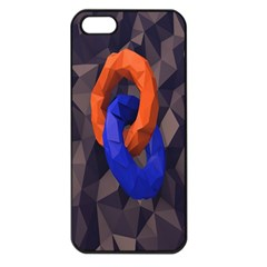 Low Poly Figures Circles Surface Orange Blue Grey Triangle Apple Iphone 5 Seamless Case (black)