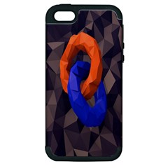 Low Poly Figures Circles Surface Orange Blue Grey Triangle Apple Iphone 5 Hardshell Case (pc+silicone) by Alisyart
