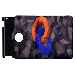 Low Poly Figures Circles Surface Orange Blue Grey Triangle Apple Ipad 3/4 Flip 360 Case