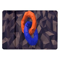 Low Poly Figures Circles Surface Orange Blue Grey Triangle Samsung Galaxy Tab 10 1  P7500 Flip Case by Alisyart