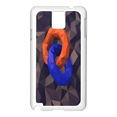 Low Poly Figures Circles Surface Orange Blue Grey Triangle Samsung Galaxy Note 3 N9005 Case (white) by Alisyart