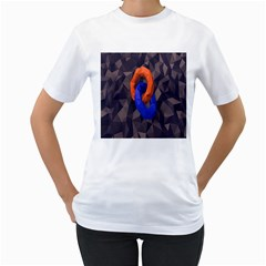 Low Poly Figures Circles Surface Orange Blue Grey Triangle Women s T Shirt (white)