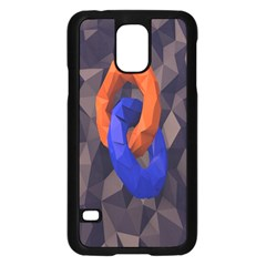 Low Poly Figures Circles Surface Orange Blue Grey Triangle Samsung Galaxy S5 Case (black) by Alisyart