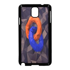 Low Poly Figures Circles Surface Orange Blue Grey Triangle Samsung Galaxy Note 3 Neo Hardshell Case (black) by Alisyart