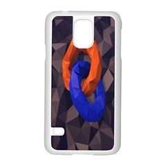 Low Poly Figures Circles Surface Orange Blue Grey Triangle Samsung Galaxy S5 Case (white)