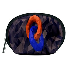 Low Poly Figures Circles Surface Orange Blue Grey Triangle Accessory Pouches (medium)