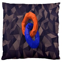 Low Poly Figures Circles Surface Orange Blue Grey Triangle Standard Flano Cushion Case (one Side)