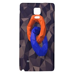 Low Poly Figures Circles Surface Orange Blue Grey Triangle Galaxy Note 4 Back Case