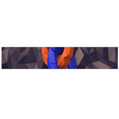 Low Poly Figures Circles Surface Orange Blue Grey Triangle Flano Scarf (large)