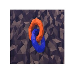 Low Poly Figures Circles Surface Orange Blue Grey Triangle Small Satin Scarf (square)
