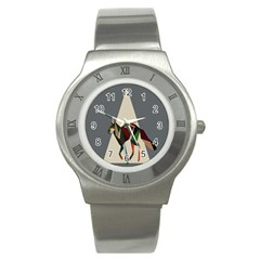 Nature Animals Artwork Geometry Triangle Grey Gray Stainless Steel Watch by Alisyart