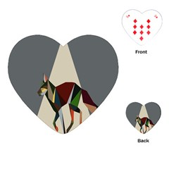 Nature Animals Artwork Geometry Triangle Grey Gray Playing Cards (heart)