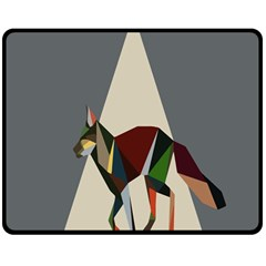 Nature Animals Artwork Geometry Triangle Grey Gray Double Sided Fleece Blanket (medium)  by Alisyart