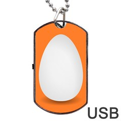 Orange White Egg Easter Dog Tag Usb Flash (one Side) by Alisyart