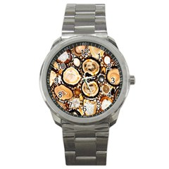 Natural Agate Mosaic Sport Metal Watch by Alisyart