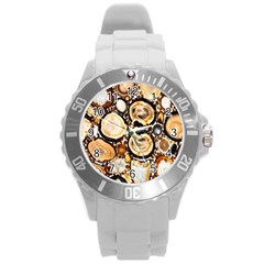 Natural Agate Mosaic Round Plastic Sport Watch (l) by Alisyart