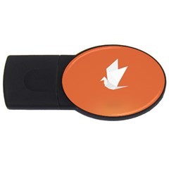 Origami Bird Animals White Orange Usb Flash Drive Oval (2 Gb)