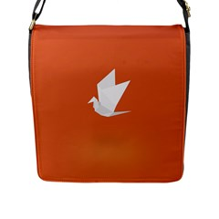 Origami Bird Animals White Orange Flap Messenger Bag (l)
