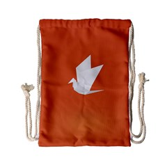 Origami Bird Animals White Orange Drawstring Bag (small) by Alisyart
