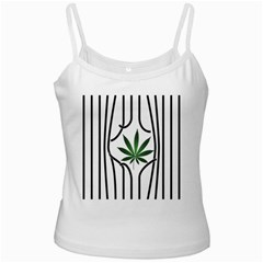Marijuana Jail Leaf Green Black White Spaghetti Tank by Alisyart
