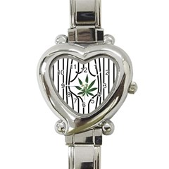 Marijuana Jail Leaf Green Black Heart Italian Charm Watch by Alisyart