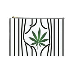 Marijuana Jail Leaf Green Black Cosmetic Bag (large)