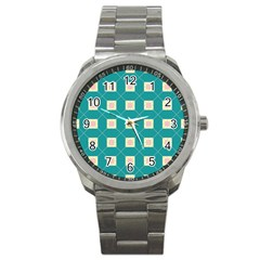 Regular Triangulation Plaid Blue Sport Metal Watch