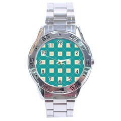 Regular Triangulation Plaid Blue Stainless Steel Analogue Watch