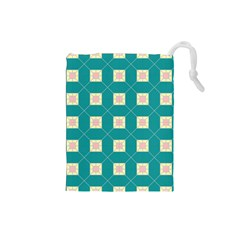 Regular Triangulation Plaid Blue Drawstring Pouches (small)