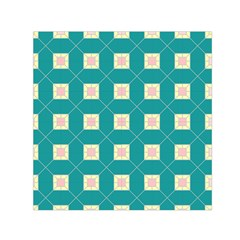 Regular Triangulation Plaid Blue Small Satin Scarf (square)
