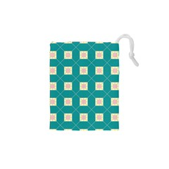 Regular Triangulation Plaid Blue Drawstring Pouches (xs)