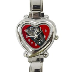 Auto Red Fast Sport Heart Italian Charm Watch by Nexatart
