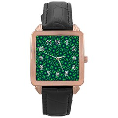 Plaid Green Light Rose Gold Leather Watch
