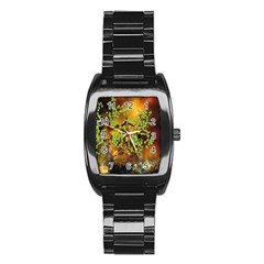 Backdrop Background Tree Abstract Stainless Steel Barrel Watch