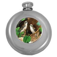 Backdrop Colorful Bird Decoration Round Hip Flask (5 Oz)