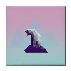 Polar Bears Animals White Tile Coasters