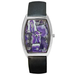 Purple Agate Natural Barrel Style Metal Watch