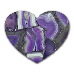 Purple Agate Natural Heart Mousepads