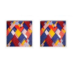 Background Fabric Multicolored Patterns Cufflinks (square) by Nexatart