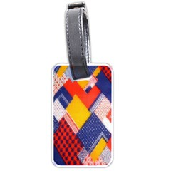 Background Fabric Multicolored Patterns Luggage Tags (one Side)  by Nexatart